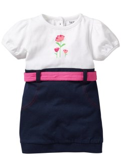 Baby Kleid Bio-Baumwolle, bpc bonprix collection, weiß/dunkelblau