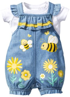 Baby-T-Shirt + Jeans Latzhose (2-tlg. Set), bpc bonprix collection, weiß/lightblue bleached