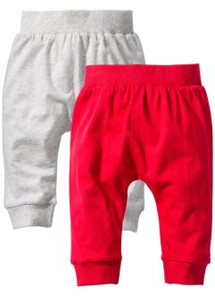 Baby Shirthose (2er-Pack) Bio-Baumwolle, bpc bonprix collection, natur/rot meliert