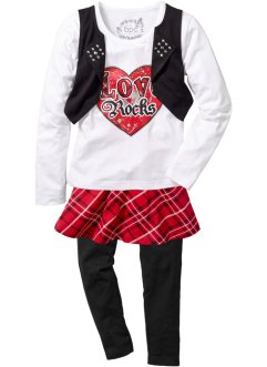 Shirt + Rock + Leggings (3-tlg. Set), bpc bonprix collection, rot/schwarz/weiß