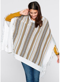Strick-Poncho, bpc bonprix collection, wollweiß gemustert
