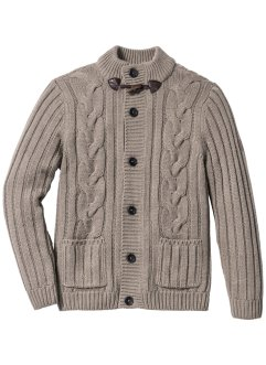 Strickjacke mit Zopfmuster Regular Fit, bpc bonprix collection, taupe