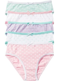 Slip (5er-Pack), bpc bonprix collection, weiß/rosa/flieder/mint