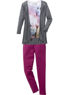 Shirt + Cardigan + Leggings (3-tlg. Set), bpc bonprix collection, wollweiß/rauchgrau/violett
