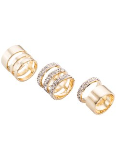 Ringset 3tlg. strass, bpc bonprix collection, goldfarben