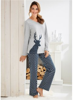 Pyjama, bpc bonprix collection, hellgrau meliert bedruckt