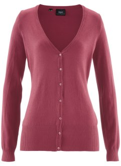 Basic Feinstrick-Jacke, bpc bonprix collection, bordeaux