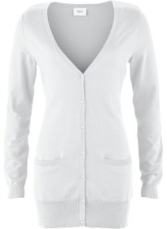Basic Feinstrick-Jacke, bpc bonprix collection, weiß