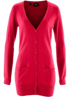 Basic Feinstrick-Jacke, bpc bonprix collection, dunkelrot