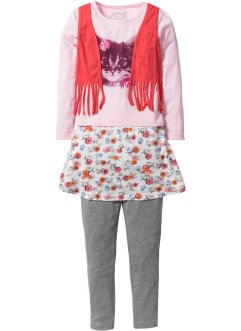 Shirt mit Weste + Rock + Leggings (3-tlg.), bpc bonprix collection, puderrosa bedruckt