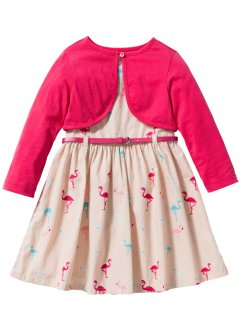 Kleid + Gürtel + Bolero (3-tlg. Set), bpc bonprix collection, hellpfirsich Flamingo