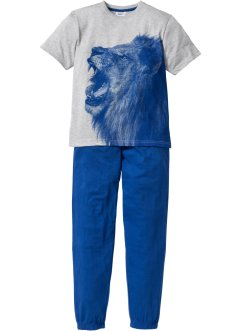 Pyjama (2-tlg. Set), bpc bonprix collection, hellgrau meliert/enzianblau