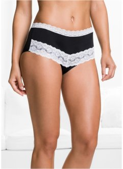 Mikrofaser-Maxipanty (3er-Pack), bpc selection, schwarz/wollweiß
