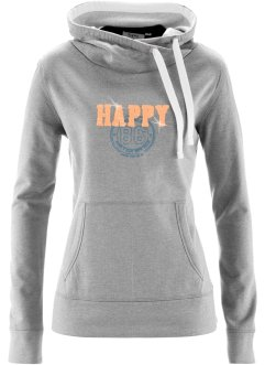 Sweatshirt, bpc bonprix collection, hellgrau meliert bedruckt