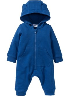 Baby Sweat Overall mit Kapuze Bio-Baumwolle, bpc bonprix collection, enzianblau