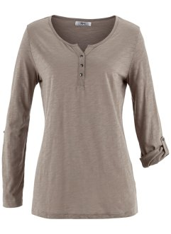 Shirt-Tunika mit langen Ärmeln, bpc bonprix collection, taupe