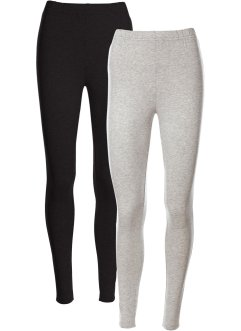 Stretch-Leggings, bpc bonprix collection, hellgrau meliert+schwarz