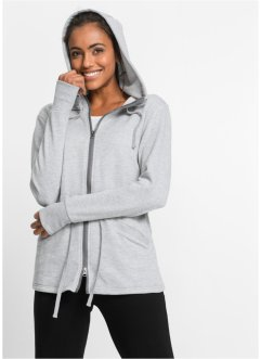 Wellness-Sweatjacke, langarm, bpc bonprix collection, hellgrau meliert