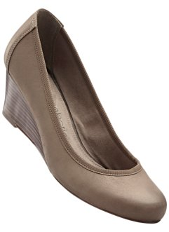 Lederkeilpumps, bpc selection, taupe