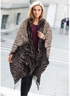 "Poncho ""animal"", bpc bonprix collection, braun/schwarz"