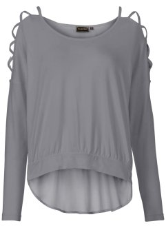 Shirtbluse mit Cut-Outs, RAINBOW, grau