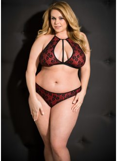 Triangel-BH+Panty ouvert (2tlg. Set), schwarz/rot