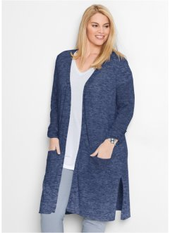 Long-Strickjacke, bpc bonprix collection, indigo meliert