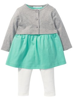 Baby Kleid + Bolero + Leggings (3-tlg. Set) Bio-Baumwolle, bpc bonprix collection, hellgrau/mint/wollweiß