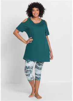 Capri Pyjama, bpc bonprix collection, petrol bedruckt