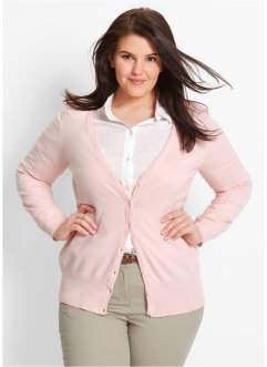 Basic Feinstrick-Jacke, bpc bonprix collection, perlrosa