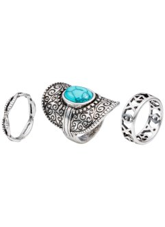 3-tlg. Ringset Bohemian, bpc bonprix collection, antiksilberfarben/türkis