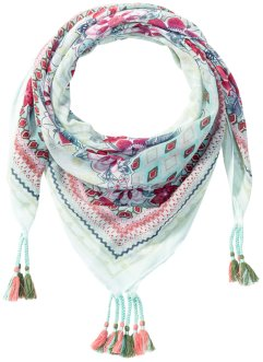 quadratisches Tuch mit Blumenprint, bpc bonprix collection, mint/multi