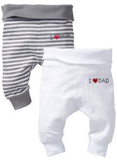 Baby-Shirthose (2er-Pack) Bio-Baumwolle, bpc bonprix collection, weiß/ grau