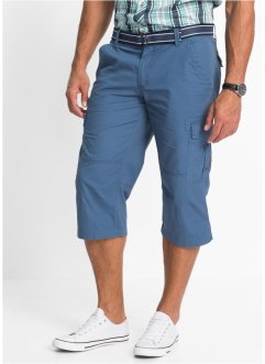 3/4 Hose inkl. Gürtel Loose Fit, bpc bonprix collection, jeansblau
