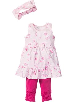 Kleid + Haarband + Leggings (3-tlg. Set), bpc bonprix collection, hellrosa/flamingopink