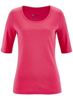Basic Baumwollshirt Rib-Jersey, bpc bonprix collection, hibiskuspink