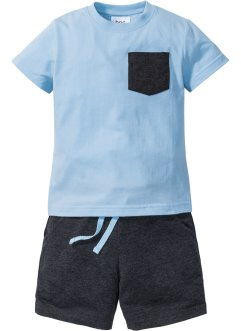 T-Shirt + Bermuda (2-tlg.), bpc bonprix collection, eisblau/anthrazit meliert
