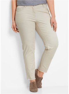 7/8-Stretchhose mit Fransen, bpc bonprix collection, kieselbeige