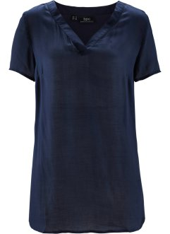 Kurzarm-Bluse, bpc bonprix collection, dunkelblau