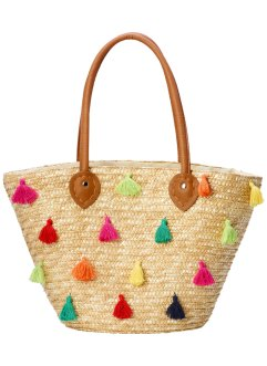 Strohtasche mit bunten Pompoms, bpc bonprix collection