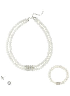 Perlenschmuckset Collier+Armband+Ohrstecker, bpc bonprix collection