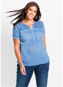 Halbarm-Cold-dyed-Bluse mit Spitze, bpc bonprix collection