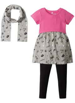 Kleid, Leggings + Schal (3-tlg. Set), bpc bonprix collection