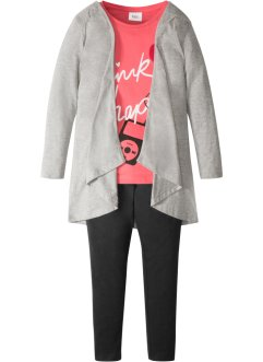 Shirt + Jacke + Leggings (3-tlg.), bpc bonprix collection