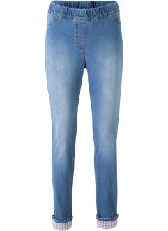 Stretch-Jeans mit Karoeinsatz, bpc bonprix collection