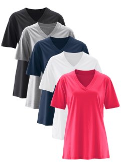 Longshirt mit V-Ausschnitt (5er Pack), Kurzarm, bpc bonprix collection