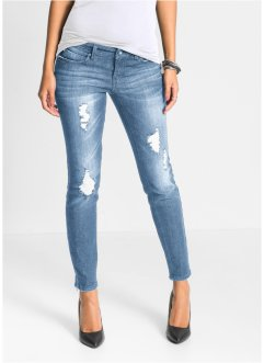 Damenmode Damen Slim Fit Stretch Röhren Jeans Risse Perlen High Waist 34 36 38 40 42 Weiß