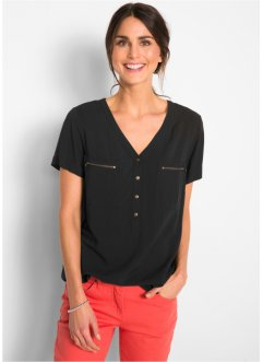 Viskose Bluse, Kurzarm, bpc bonprix collection
