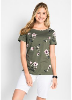 Kurzarm-Shirt mit Blumenmuster, bpc bonprix collection