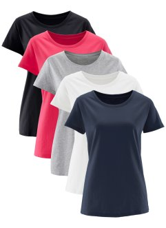 Rundhals-Shirt (5er-Pack), Kurzarm, bpc bonprix collection